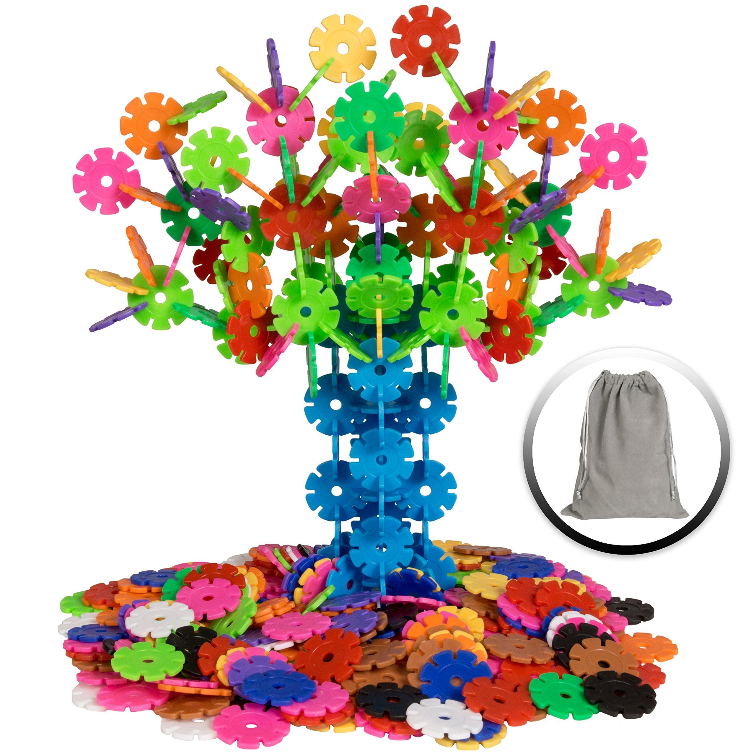 Best Choice Products 360-Piece Kids Educational STEM Toy Plastic Building Block Discs Set w/ Carrying Bag - Multicolor