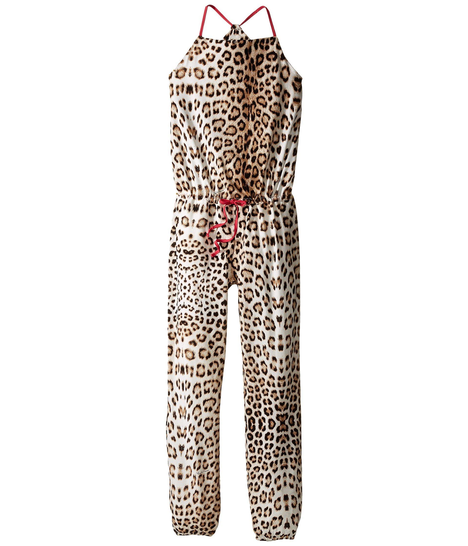 Roberto Cavalli Kids Girls' All Over Print Jumpsuit, Leopard, SM (Big Kids)