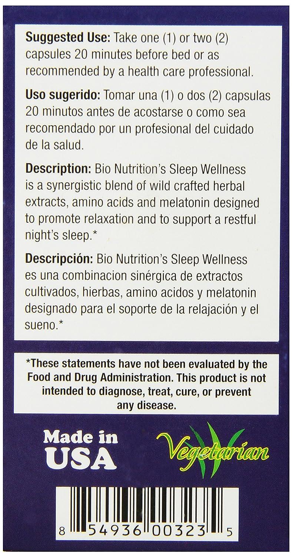 Amazon.com: Bio Nutrition Sleep Wellness with Wild Lettuce Vegi-Caps, 60 Count: Health & Personal Care