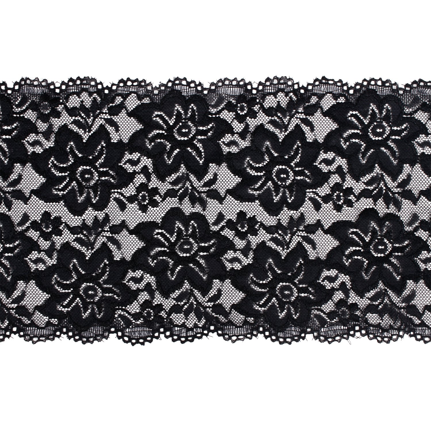5 Yard Laribbons 6 Inch Black Embroidery Floral Stretchy Lace Elastic Trim Fabric for Garment And DIY Craft Supply