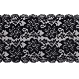 LaRibbons 6 Inch Black Embroidery Floral Stretchy