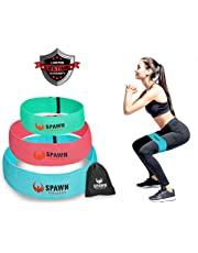Spawn Fitness Resistance Bands for Legs Butt Glute Training Fit Loop Cotton Latex for Men and Women - Set of 3