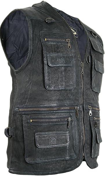 TALLA S. Chaqueta de piel para hombre, chaleco para ocio, chaqueta,chaqueta de caza, de pesca, chaleco para moto chopper, chaqueta rockera, chaqueta de moto.