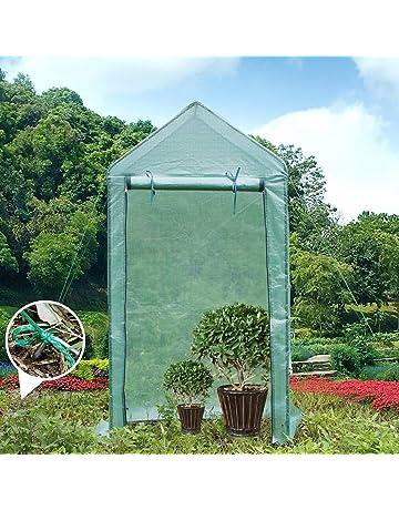 Yorbay Foliengewachshaus Gewachshaus Fur Tomaten Mit Gitternetzfolie Garten Zur Aufzucht Spitzdach Grun