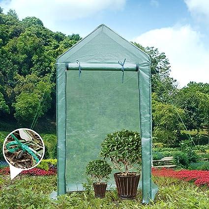Yorbay Foliengewachshaus Gewachshaus Fur Tomaten Mit Gitternetzfolie Fur Garten Zur Aufzucht Spitzdach Grun 100 50 190cm Lxbxh