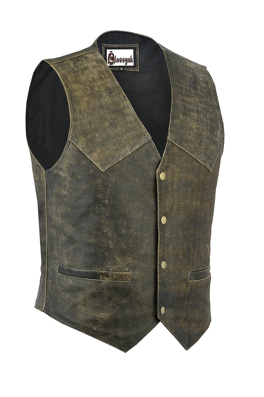 Classyak Men's Fashion Distressed Real Leather Biker Vest