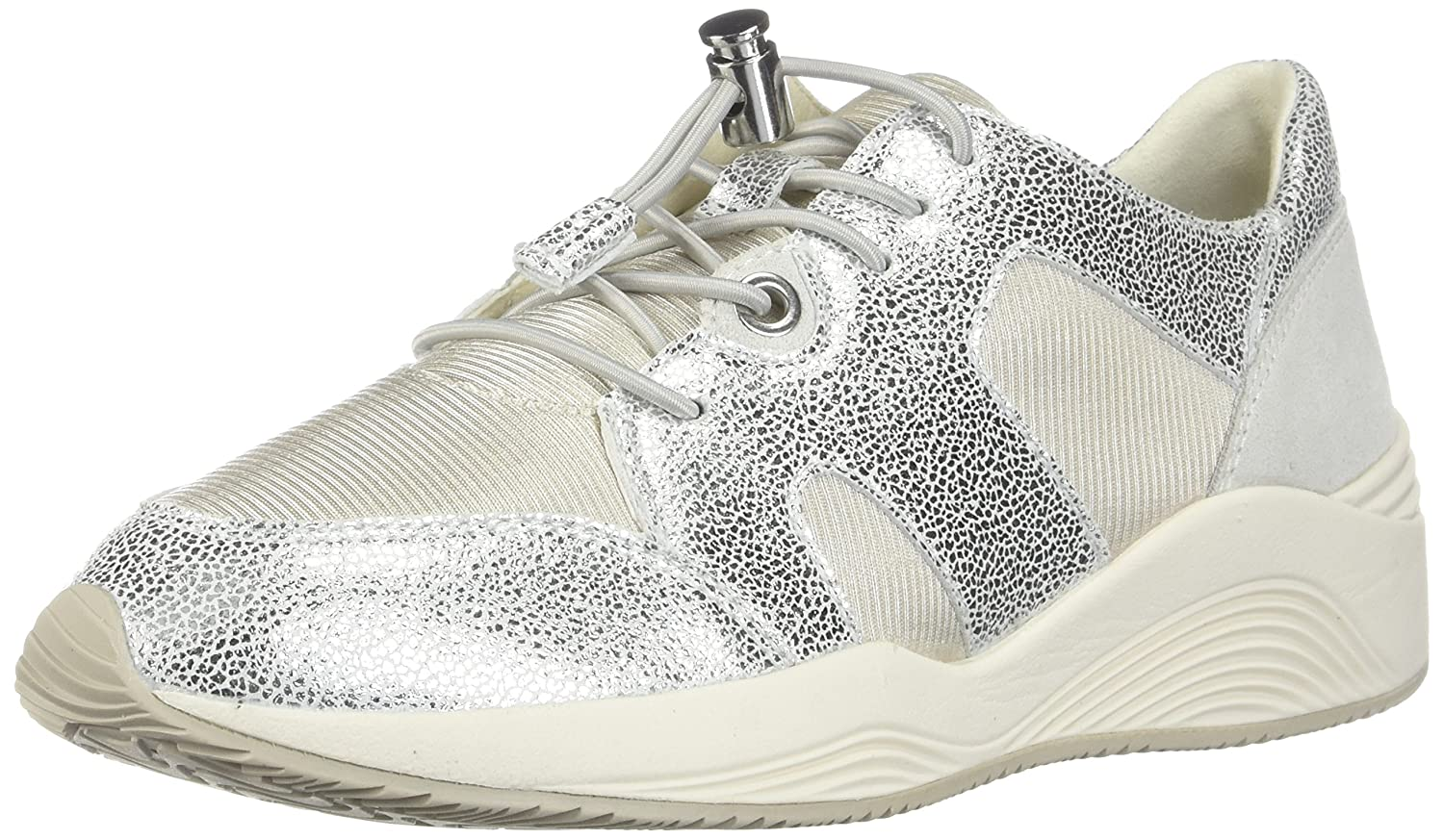Silver  Off White Geox Women's D OMAYA Sneakers