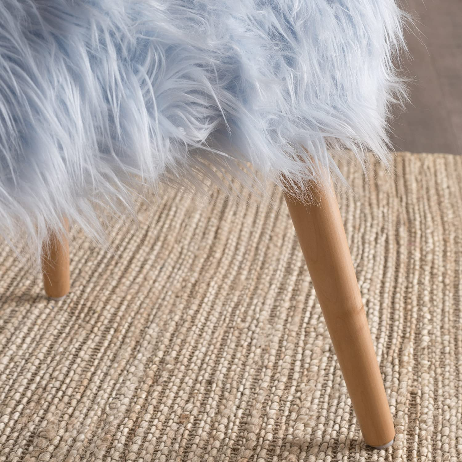 Christopher Knight Home Living Hudson Mid-Century Faux Fur Ottoman White
