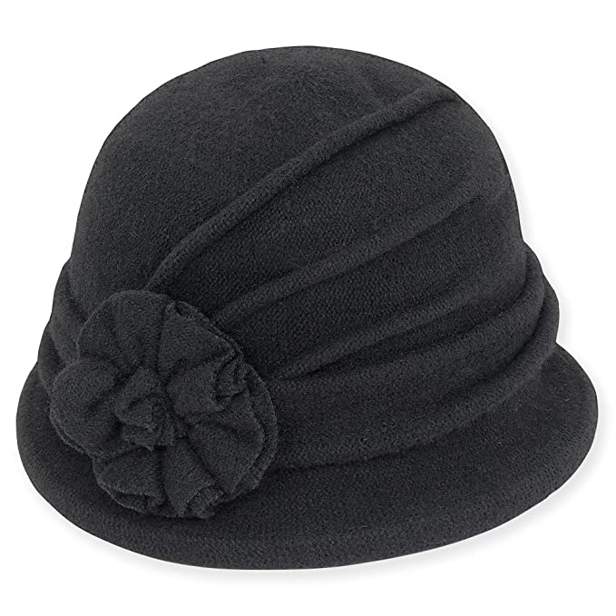 1920s Accessories | Great Gatsby Accessories Guide Adora Womens Soft Wool Cloche Bucket Hat with Floral Trim 653 $21.95 AT vintagedancer.com