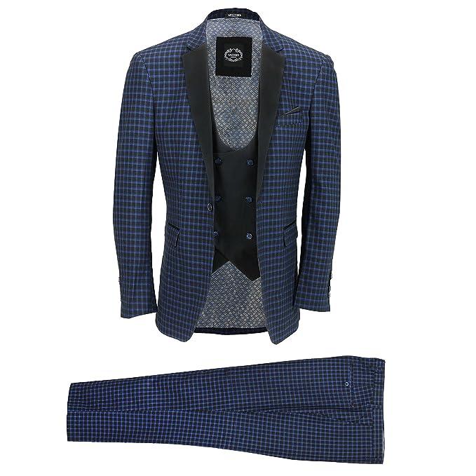 Amazon.com: Xposed traje de hombre 3 piezas azul marino ...