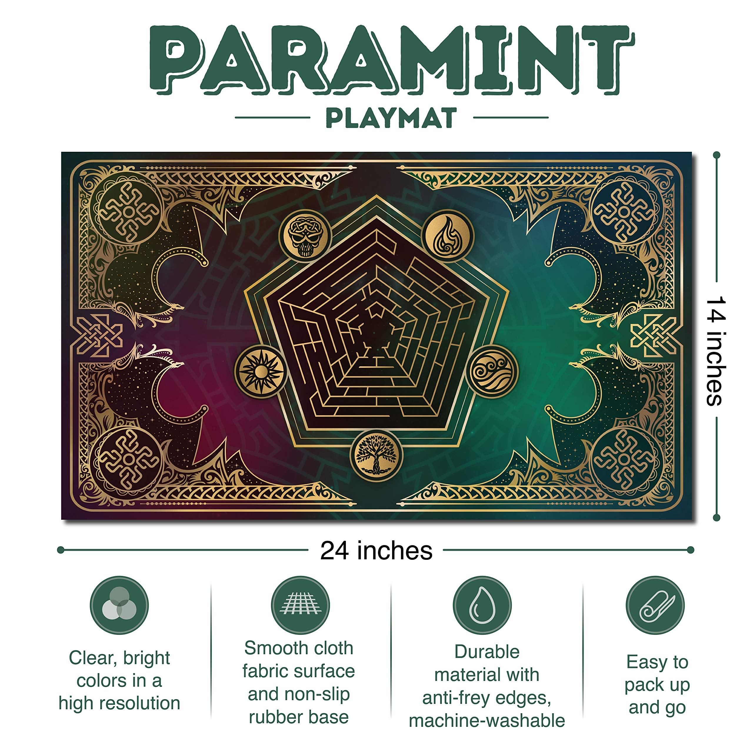 Paramint Mana Blast | MTG Playmat | Perfect for Magic The Gathering, Pokemon, YuGiOh, Anime | TCG Card Game Table Mat | Durable, Thick, Cloth Fabric Top with Rubber Bottom by Daniel Ziegler by Paramint (Image #1)