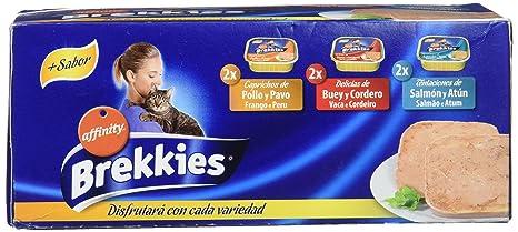 Brekkies Comida Húmeda para Gato con 3 Variedades de Sabores - Paquete de 5 x 600