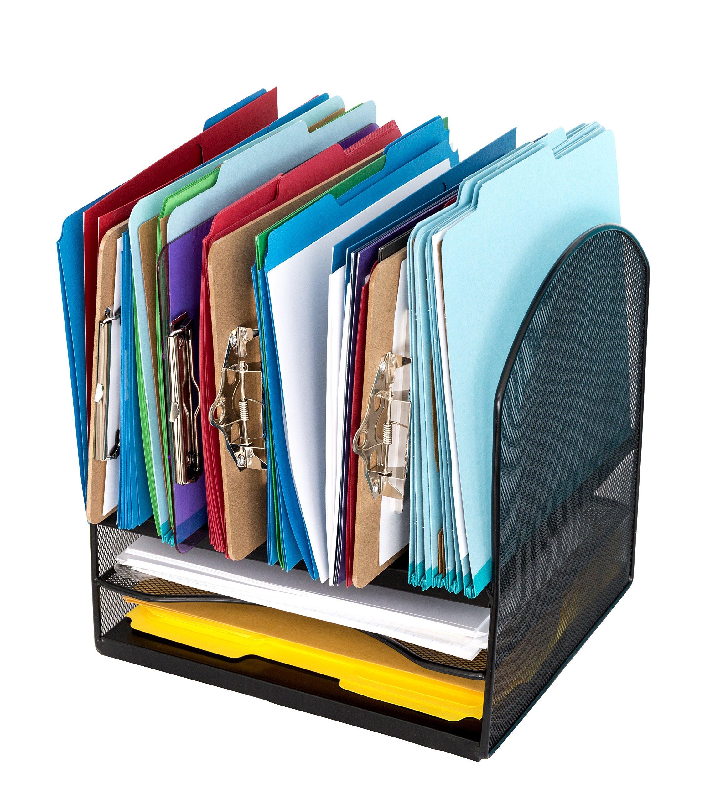 Metal Desktop File Organizer, 8 Compartment Metal Mesh Organizer, Easily organize home or office binders, folders, files, books, and more