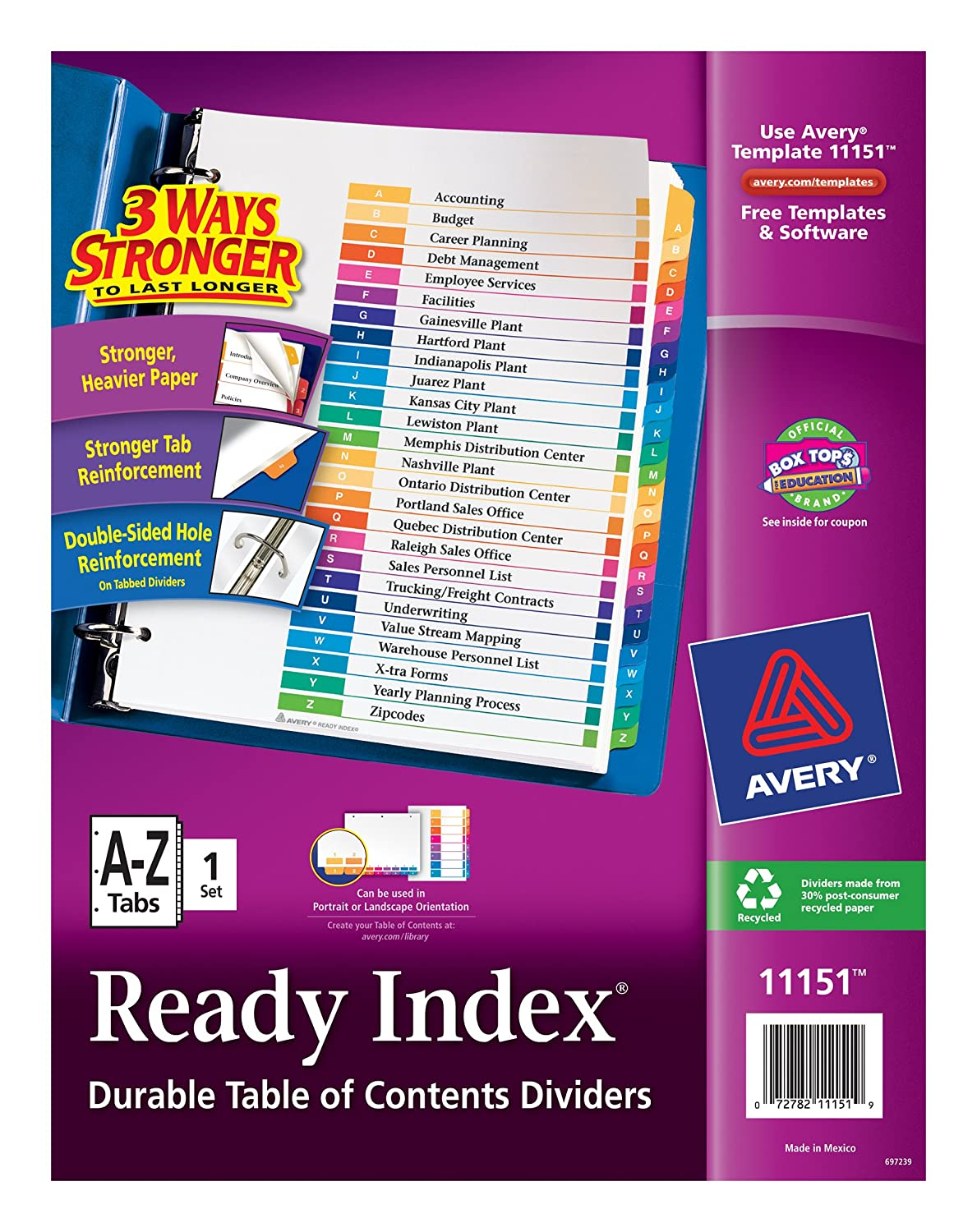 Amazon Avery Ready Index A Z Tab 1 Set Of 26 Tabs 11151