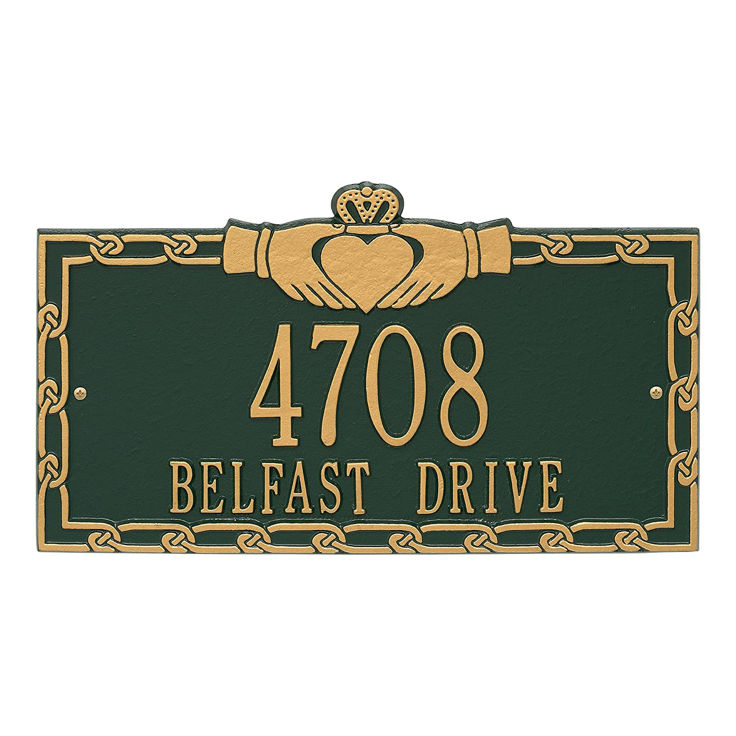 Whitehall Personalized Indoor/Outdoor Cast Irish Claddagh Address Plaque Sign with House Number and Street Name (Antique Copper) Whitehall Products