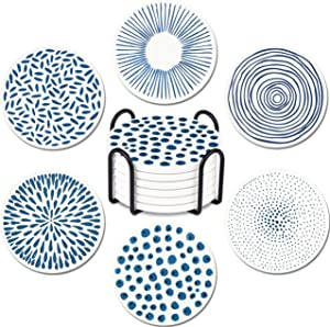 YOMFUN Coasters for Drinks Absorbent with Holder, Stone Coaster with Cork Backing Set of 6 ,Suitable for Kinds of Cups,Dining,Room Decor, Bar, Holiday Party,4 Inches Blue Pattern