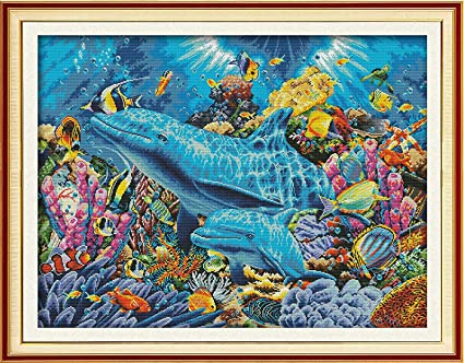 Needlepoint Starter Kits for Home Wall Decor Cross Stitch Pre-Printed Kits Advanced Cross-Stitching Patterns for Adults Beginners Stamped Cross-Stitch Kit Dolphin in Sea Embroidery Kits