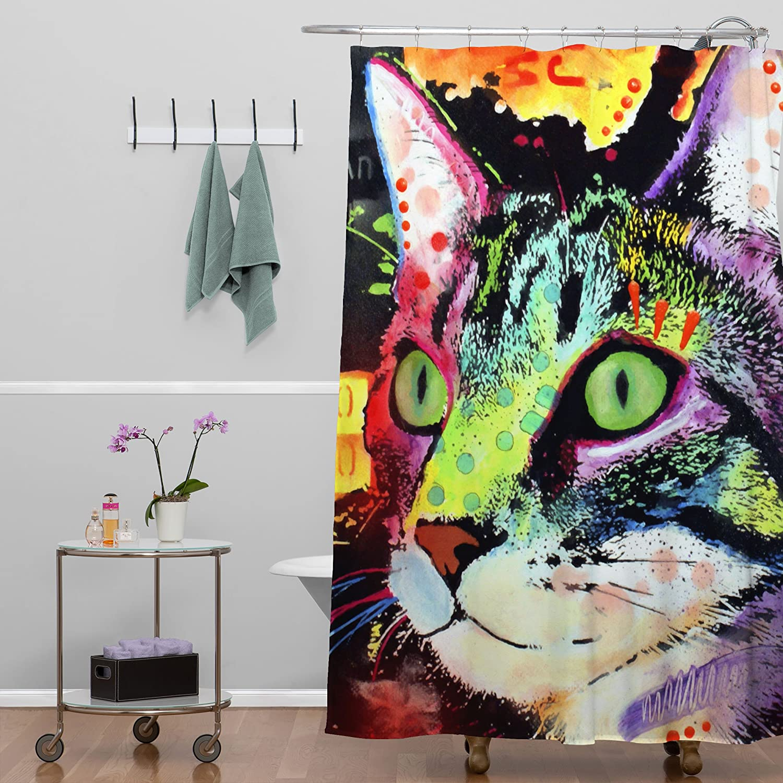 Amazon.com: Deny Designs Dean Russo Curiosity Cat Shower Curtain ...