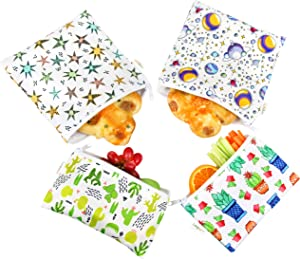 Langsprit Premium Reusable Sandwich & Snack Bags-Washable Lunch Bags - Set of 4 - (Planet and Plant)