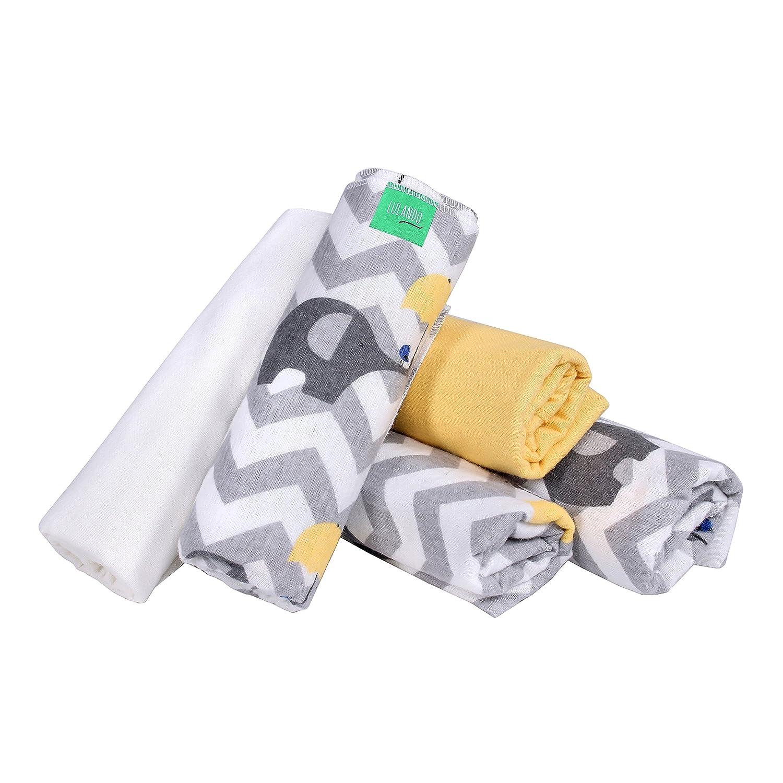 Farbe: Gr/üne Bienen LULANDO Stoffwindeln und Moltont/ücher 70x80cm Waschbare Windeln und Spuckt/ücher f/ür Ihr Baby 5er Set