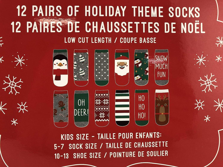 Kids Sock Size 5-7 Getex Kids Sock Advent Calendar 12 Days of Sock Childrens Novelty Gift Holdiay Themed Socks Kids Shoes Size 10-13