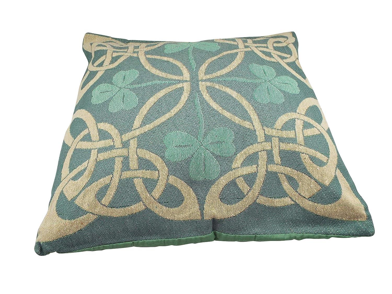 ケルティックデザイン装飾枕カバー 17×17インチ グリーン シャムロックとクリームノットデザイン B07P97TKWJ