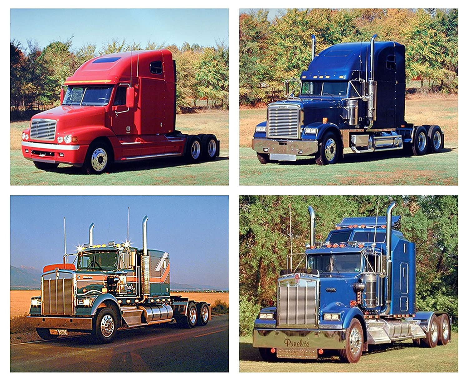 Freightliner Kenworth Big Rig Diesel Vintage Classic Truck Four Set 8x10 Pictures Wall Decor Art Print Posters