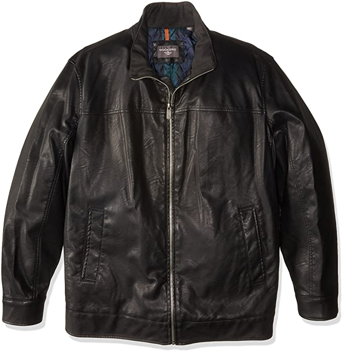 Black Dockers Mens Smooth Lamb Faux Leather Stand Collar Jacket with Full Faux Fur  Lining