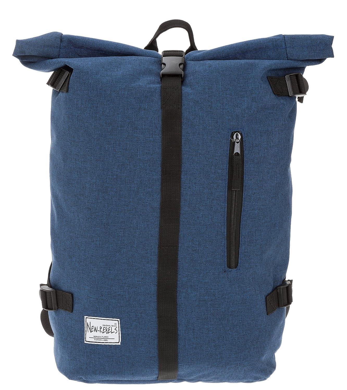 NEW REBELS Rucksack COURIER A4 Roll Up Kurierrucksack + Flasche (Blau) 51.107