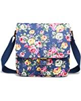 Miss Lulu Floral Flower Matte Oilcloth Structured Square Shoulder Satchel Bag
