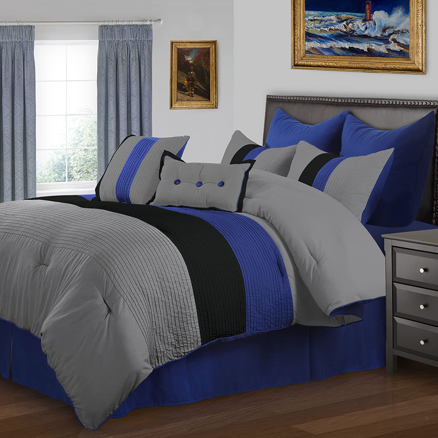 Superior 8-Piece Luxurious Florence Comforter Set Blue FLORENCE 8PC FLBL Beautiful Pleated Bed-in-a-Bag Full