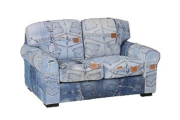 Hollyberry Home bj-2037 2er Levi Jeans Sofa, Stoff, Blau ...
