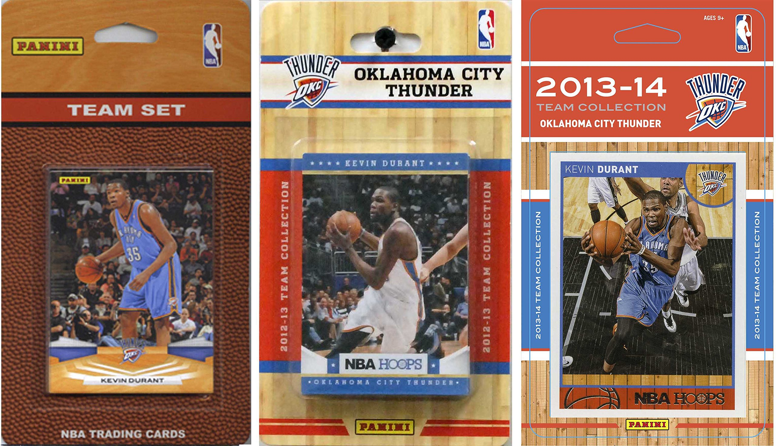 NBA Oklahoma City Thunder 3 Different Licensed Trading Card Team Sets