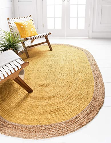 Unique Loom Braided Jute Collection Hand Woven Natural Fibers Yellow/Natural Oval Rug 8' 0 x 10' 0