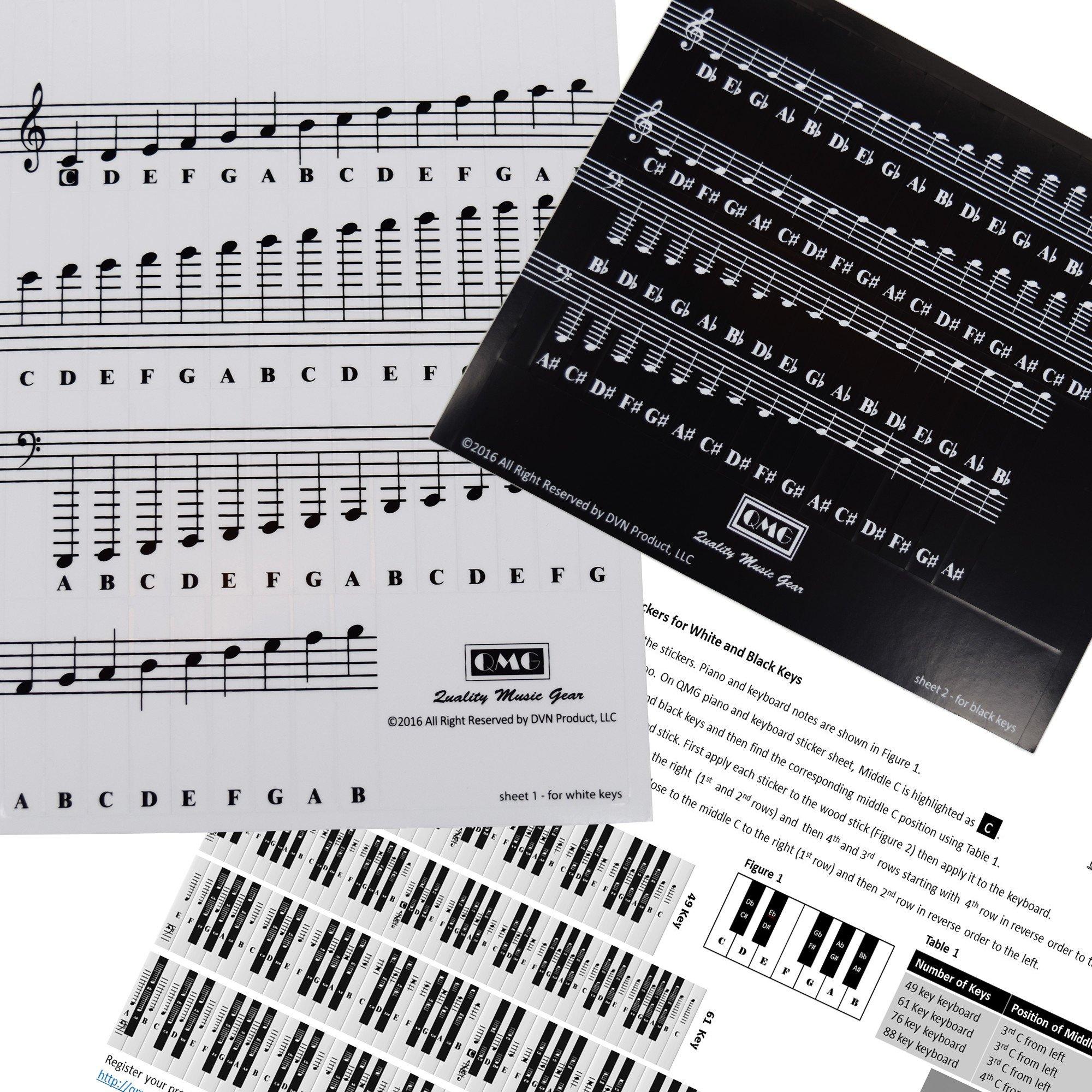 Piano and Keyboard Music Note Full Set Stickers for White and Black Keys with Piano Songs EBook; Transparent and Removable! Made in USA by QMG (Image #4)