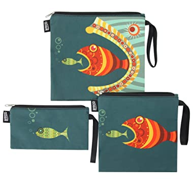 QOGiR Reusable Snack Bags and Sandwich Bags with Handle (Fish)