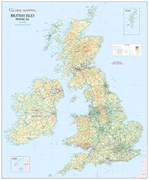 British Isles Physical Large M Wall Map Global Mapping XYZ - Large wall map of uk