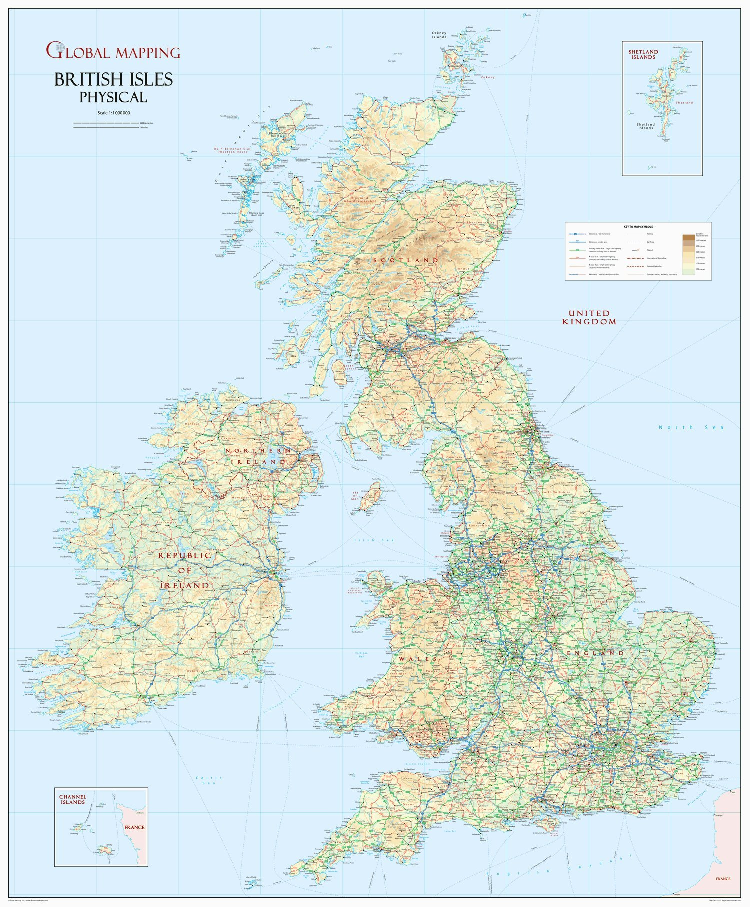 British Isles Physical Wall Map - 36.5\