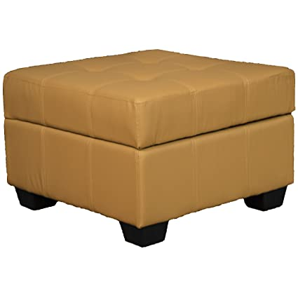 Enjoyable 24 X 24 X 18 High Tufted Padded Hinged Storage Ottoman Bench Leather Look Buckskin Caraccident5 Cool Chair Designs And Ideas Caraccident5Info