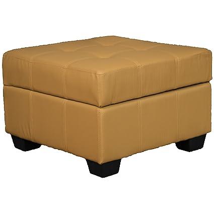 Enjoyable 24 X 24 X 18 High Tufted Padded Hinged Storage Ottoman Bench Leather Look Buckskin Ibusinesslaw Wood Chair Design Ideas Ibusinesslaworg