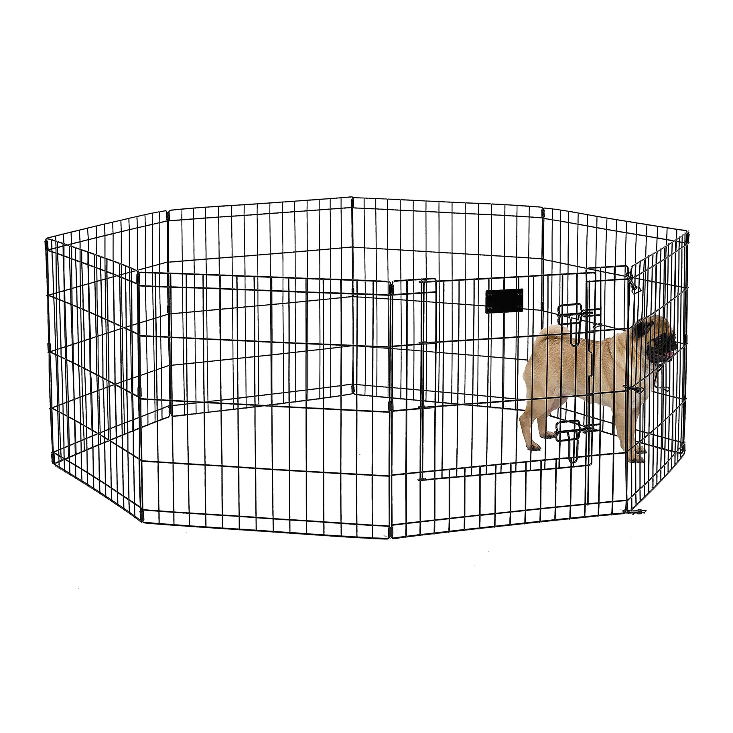 MidWest Foldable Metal Exercise Pen / Pet Playpen, Black w/ door, 24''W x 24''H by MidWest Homes for Pets