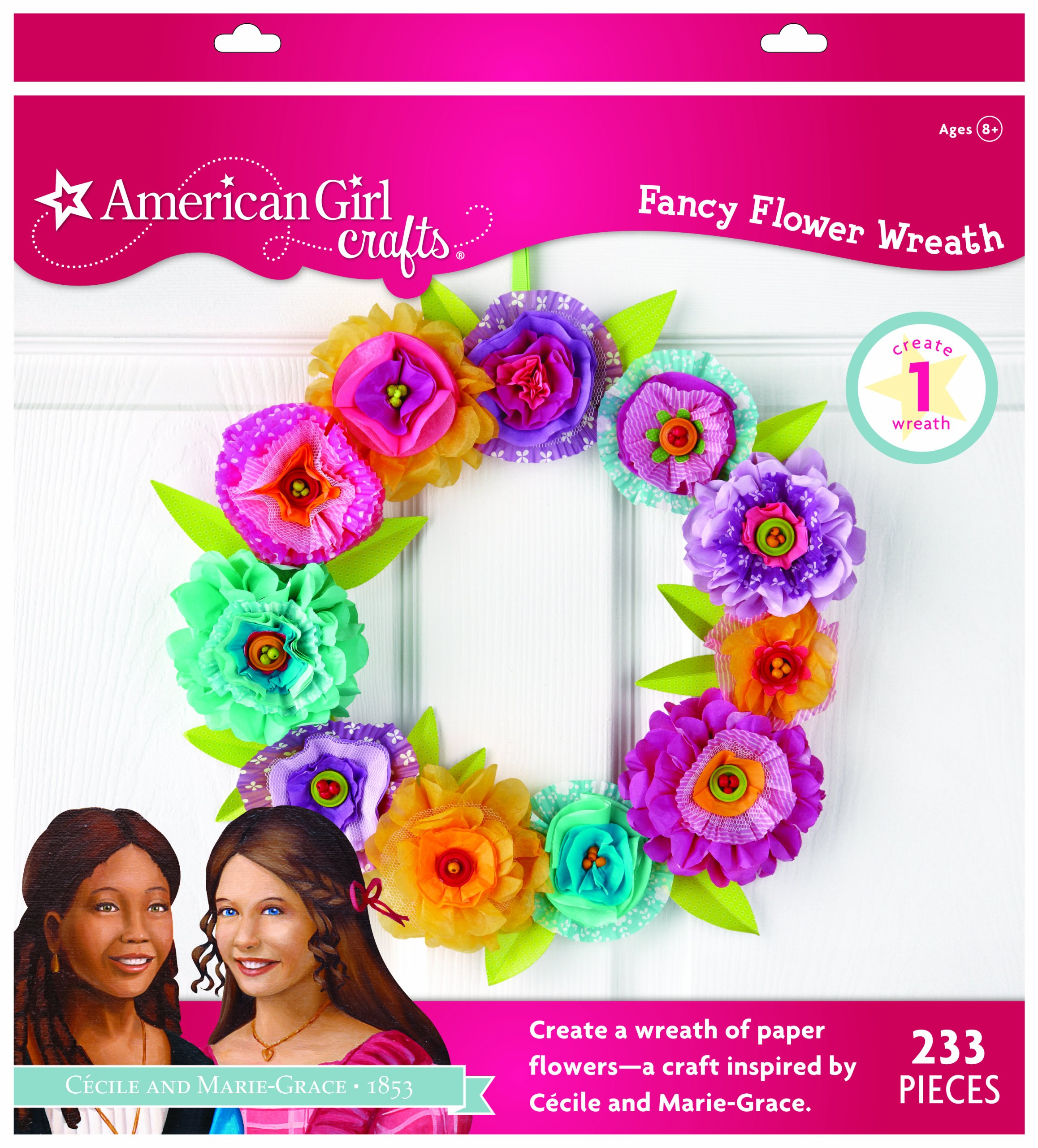 EK Success American Girl Crafts Wreath Kit, Cecile and Marie-Grace Paper Flower