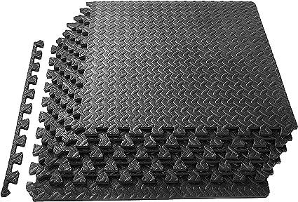 TrendMakers 16 Sq Ft Interlocking Foam Mats Tiles Gym Play Garage Workshop Floor Dark Grey