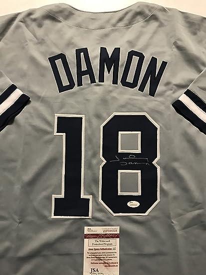 88514814c22 Autographed Signed Johnny Damon New York Grey Baseball Jersey JSA ...