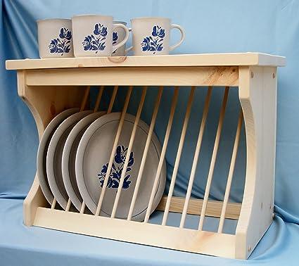 Wood Plate Rack Dish Organzier & Amazon.com: Wood Plate Rack Dish Organzier: Kitchen \u0026 Dining