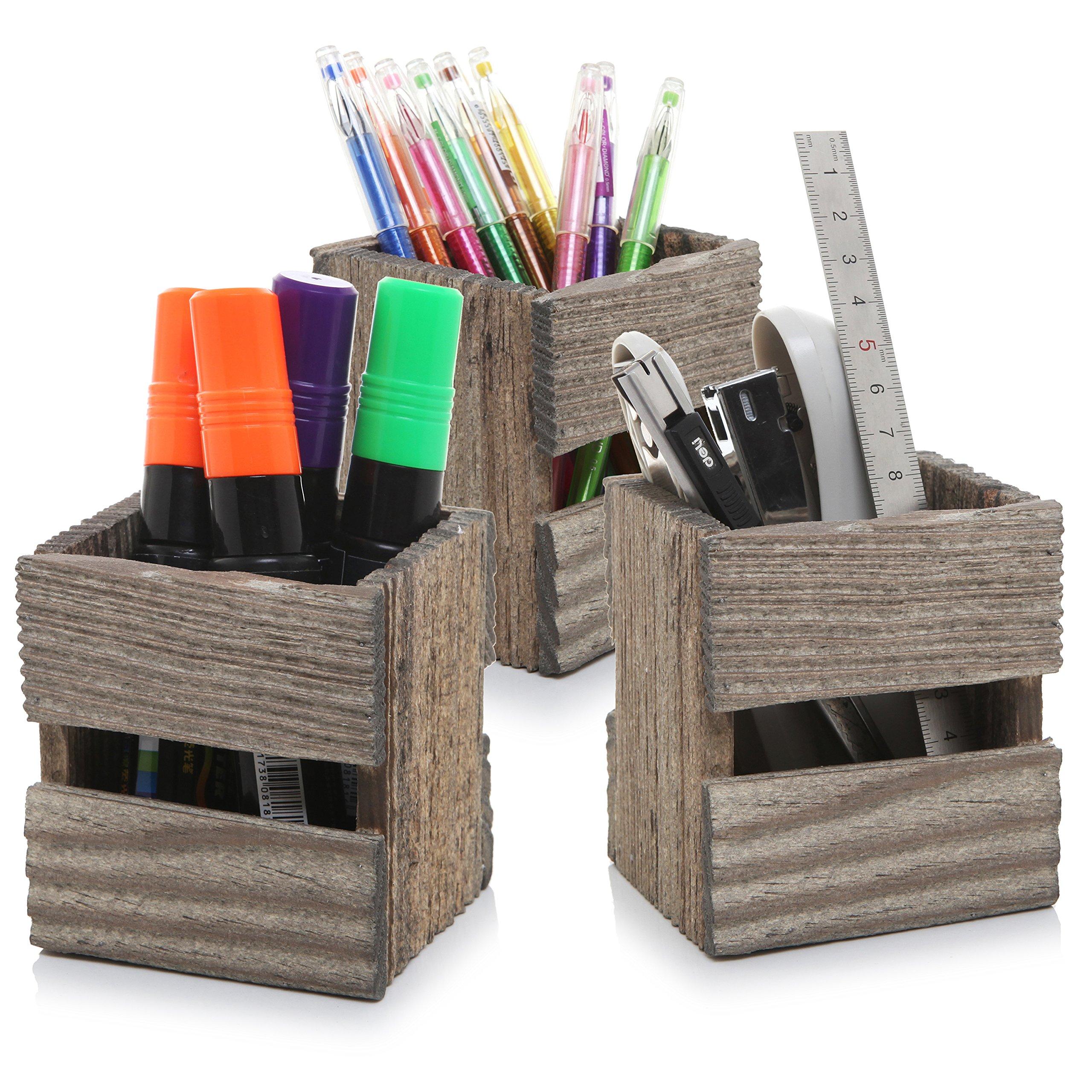 MyGift Set of 3 Crate Design Pen & Pencil Holders, Wood Office Desk Storage Boxes