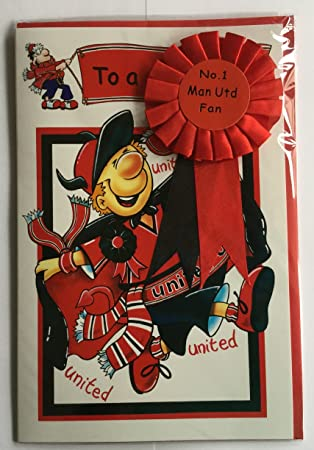 Man Utd Fan Birthday Card With Rosette Amazon Sports Outdoors