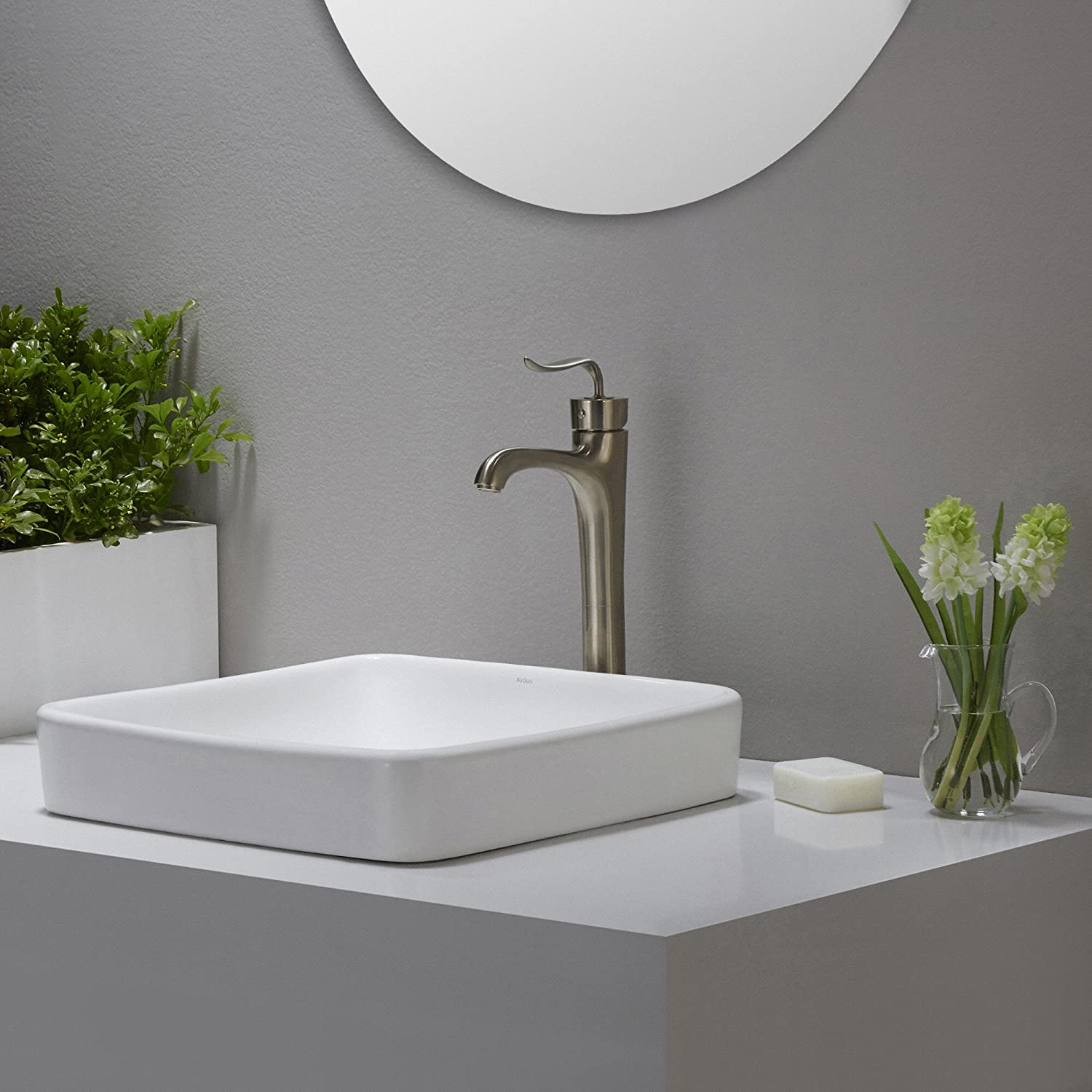 Kraus KCR 281 Modern Elavo Ceramic Square Semi Recessed Bathroom Sink With  Overflow, White     Amazon.com