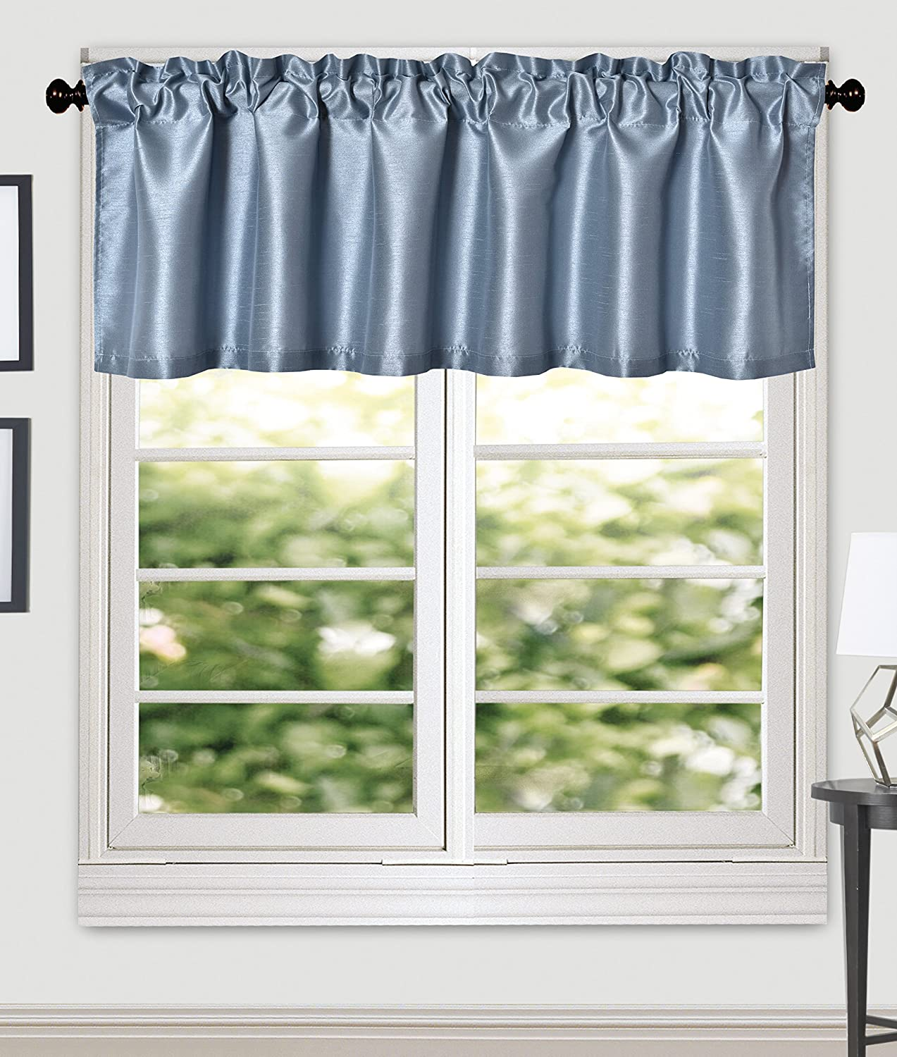 Eggplant Solid Faux Silk Window Valance Aiking Home 56 By 16 Inches Pack of 2