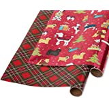 Papyrus Foil Christmas Wrapping Paper, Holiday Chic and Santa's Best Friends Dog Print (2 Pack)